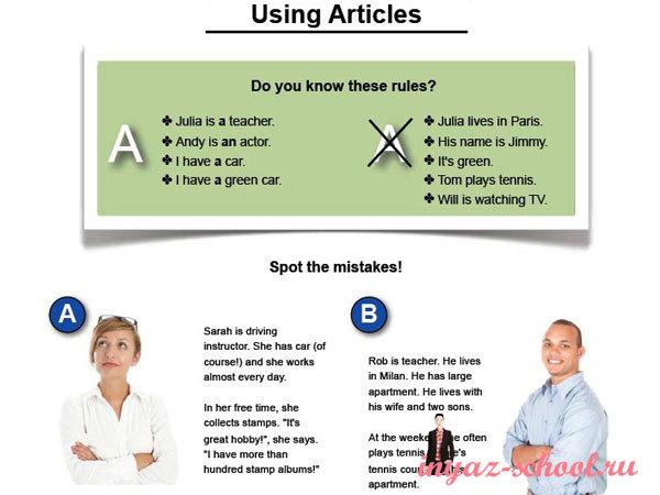 Практическое упражнение на артикли Using Articles