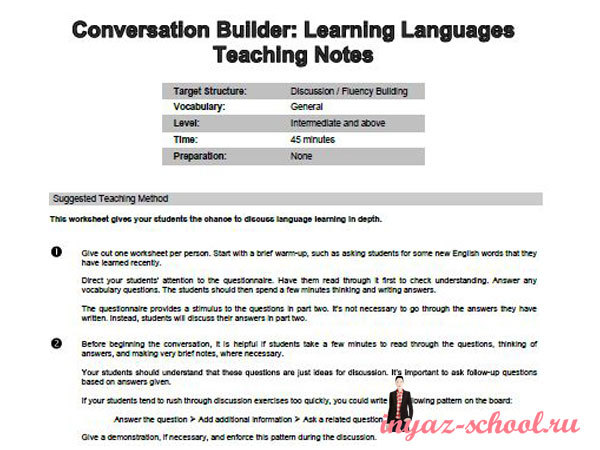 Conversation Builder: Learning Languages