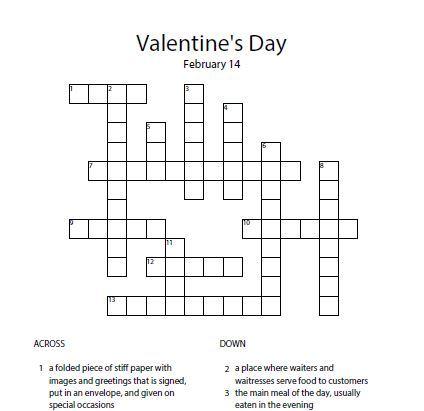 Кроссворд Valentine's Day