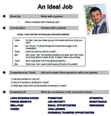 задания по английскому на тему работа