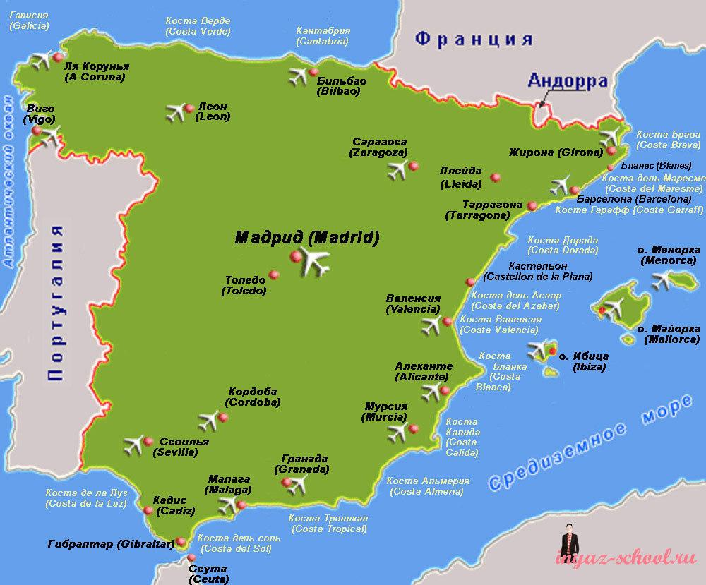 Карта Испании на русском