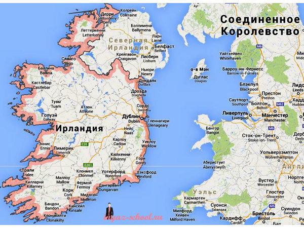 Ирландия карта